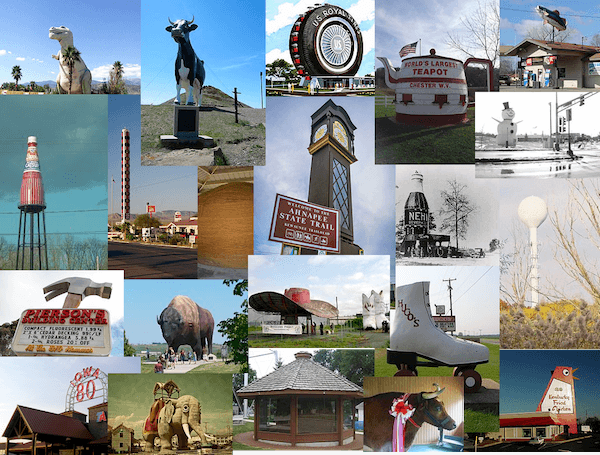 Roadside Attractions Map World's Largest Map of the World's Largest Roadside Attractions